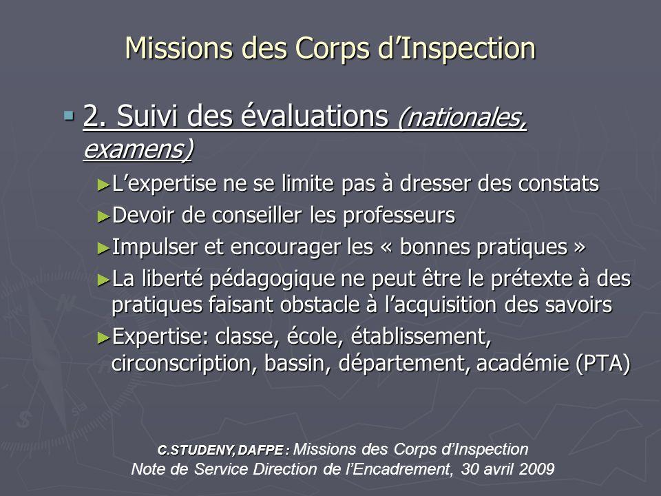 Missions des Corps dInspection 2. Suivi des évaluations (nationales, examens) 2. Suivi des évaluations (nationales, examens) Lexpertise ne se limite p