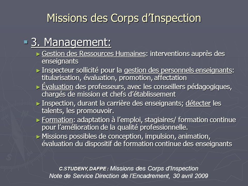 Missions des Corps dInspection 3. Management: 3. Management: Gestion des Ressources Humaines: interventions auprès des enseignants Gestion des Ressour