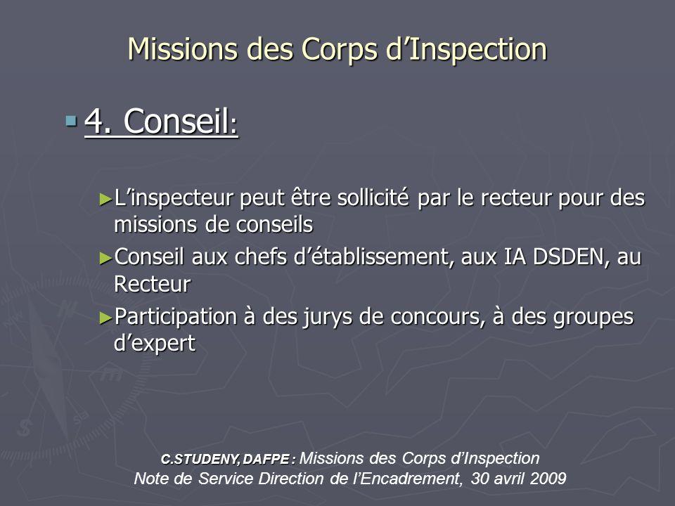 Missions des Corps dInspection 4. Conseil : 4. Conseil : Linspecteur peut être sollicité par le recteur pour des missions de conseils Linspecteur peut