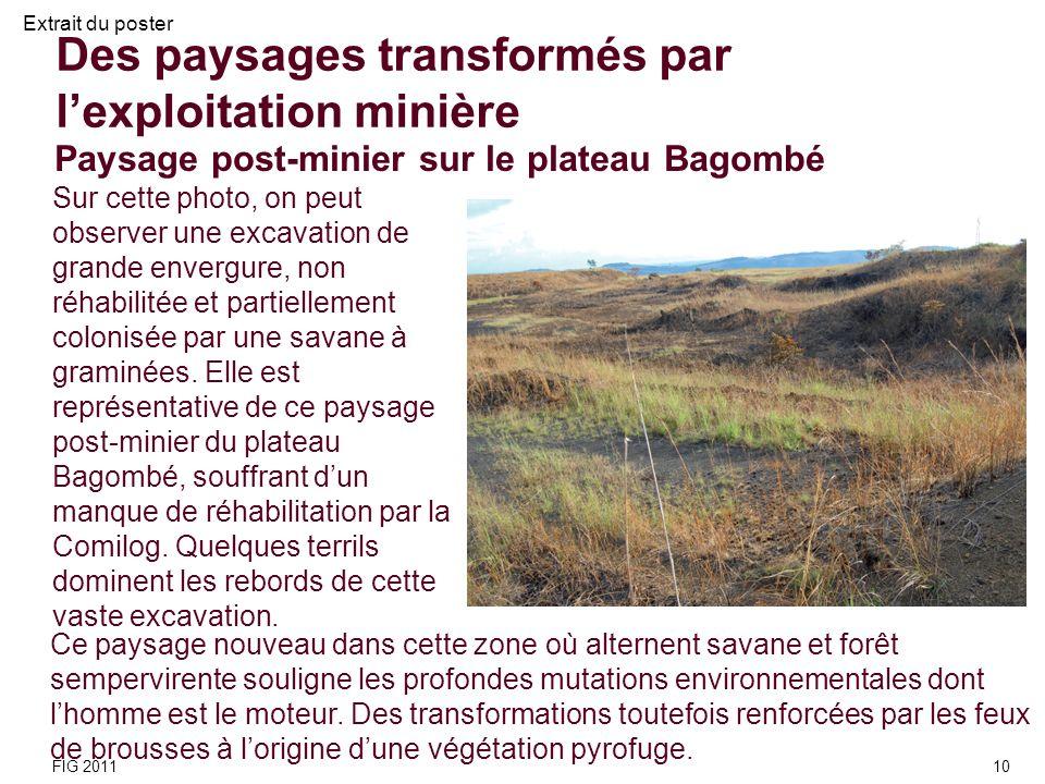 Des paysages transformés par lexploitation minière Sur cette photo, on peut observer une excavation de grande envergure, non réhabilitée et partiellem