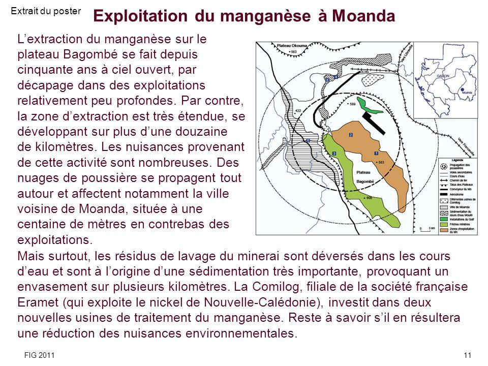 Exploitation du manganèse à Moanda Lextraction du manganèse sur le plateau Bagombé se fait depuis cinquante ans à ciel ouvert, par décapage dans des e