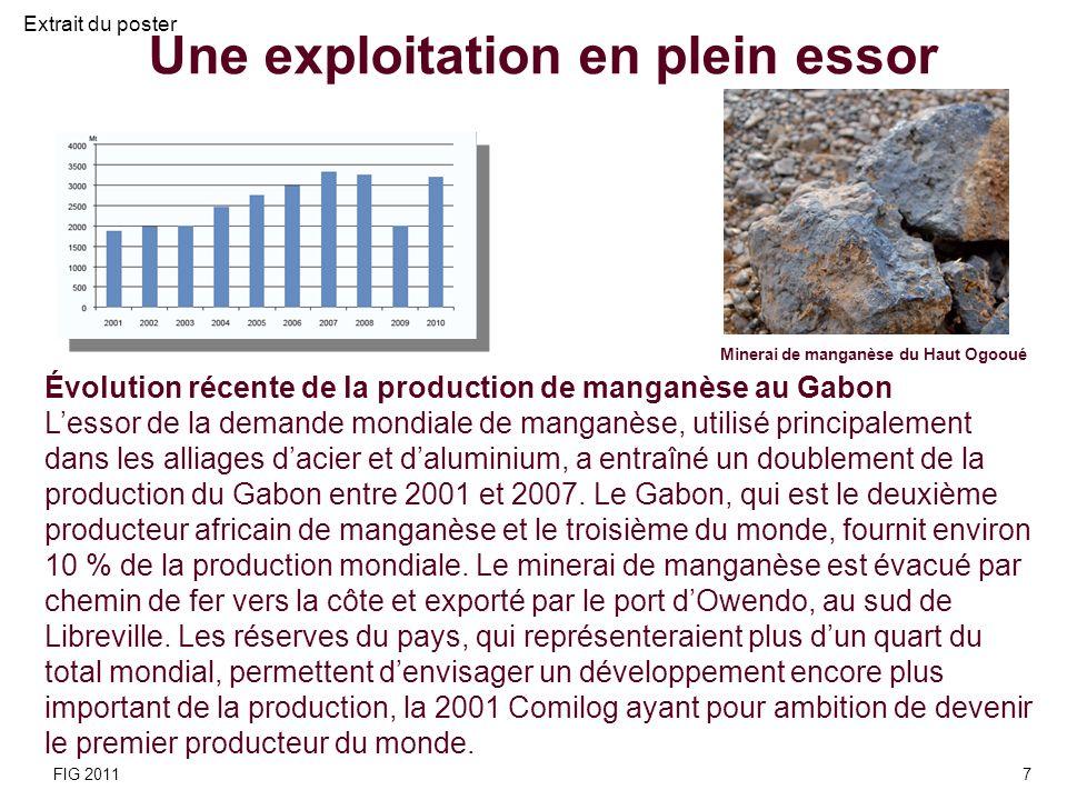 Évolution récente de la production de manganèse au Gabon Lessor de la demande mondiale de manganèse, utilisé principalement dans les alliages dacier e