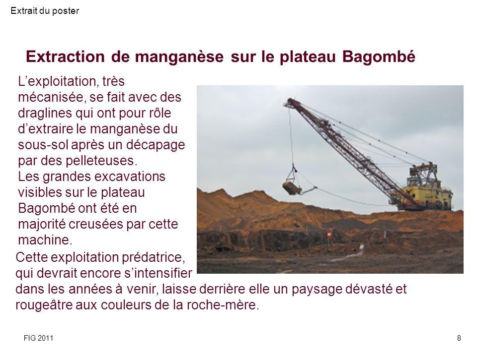 Le paysage minier résultant de lextraction du manganèse est caractérisé par de grandes excavations dune dizaine de mètres de profondeur dominées par des alignements de terrils soulignant les bordures des exploitations.