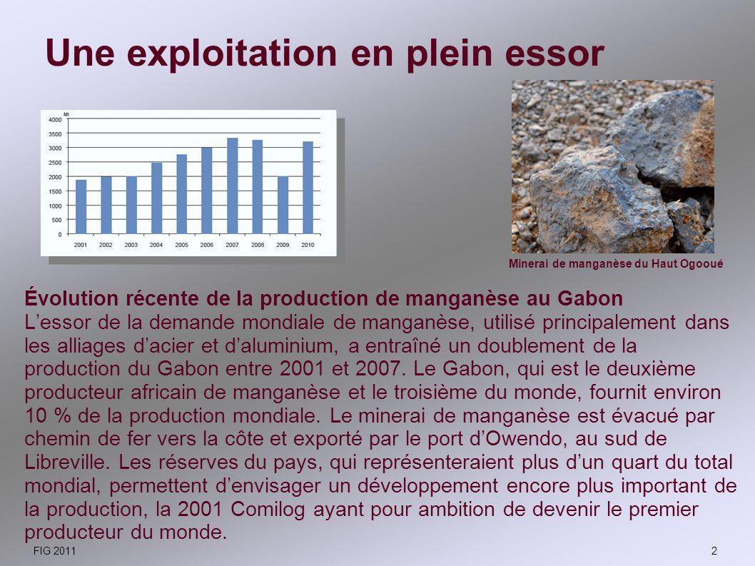 Lexploitation, très mécanisée, se fait avec des draglines qui ont pour rôle dextraire le manganèse du sous-sol après un décapage par des pelleteuses.