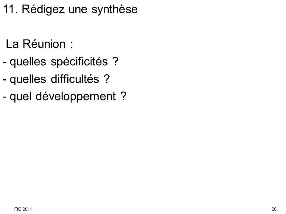 11. Rédigez une synthèse La Réunion : - quelles spécificités ? - quelles difficultés ? - quel développement ? FIG 201126