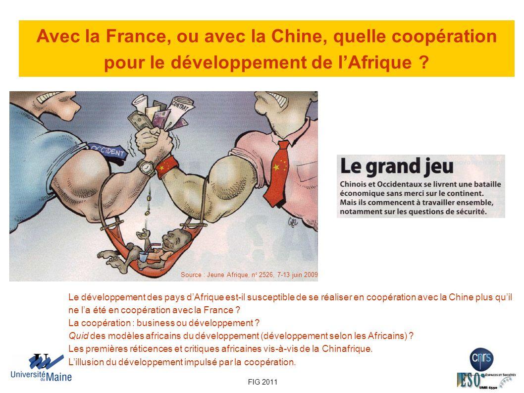 Avec la France, ou avec la Chine, quelle coopération pour le développement de lAfrique ? Source : Jeune Afrique, n° 2526, 7-13 juin 2009 Le développem