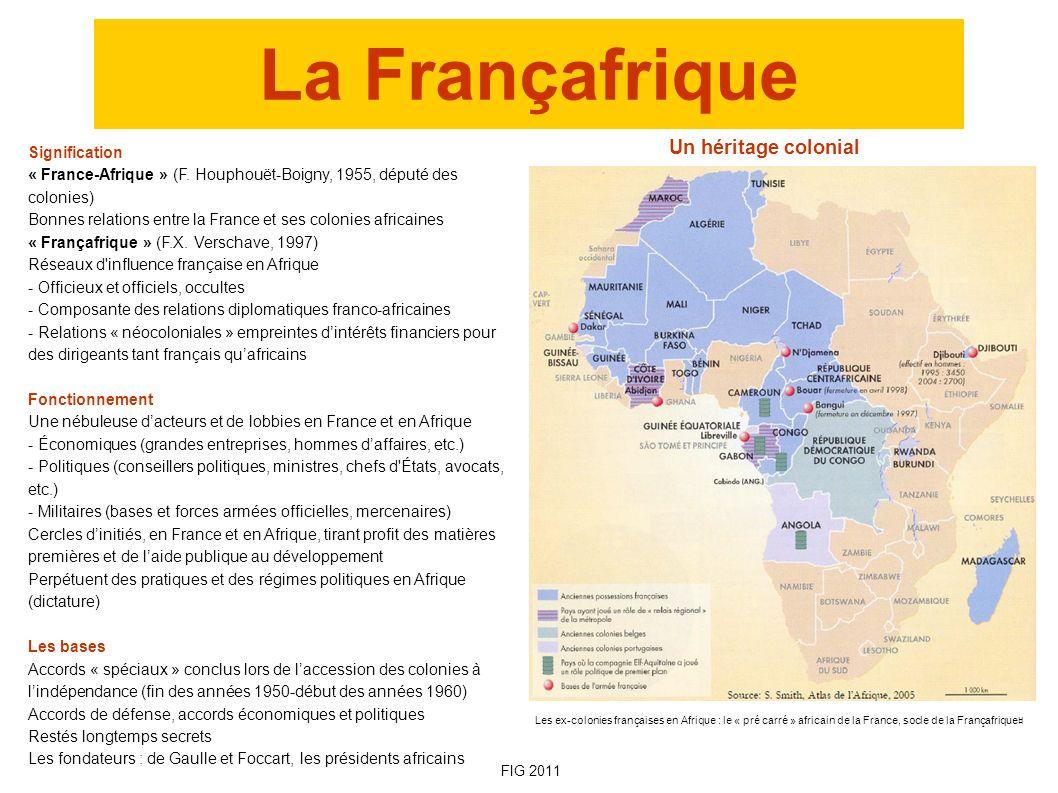La Françafrique Signification « France-Afrique » (F. Houphouët-Boigny, 1955, député des colonies) Bonnes relations entre la France et ses colonies afr