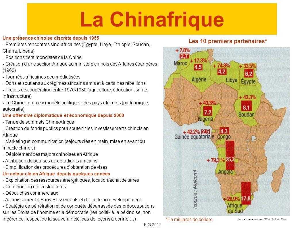 La Chinafrique Les 10 premiers partenaires* Source : Jeune Afrique, n°2526, 7-13 juin 2009 *En milliards de dollars Une présence chinoise discrète dep