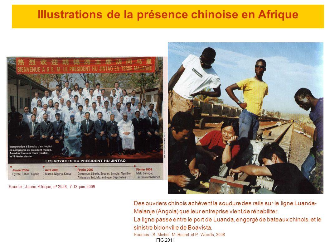 Illustrations de la présence chinoise en Afrique Source : Jeune Afrique, n° 2526, 7-13 juin 2009 Des ouvriers chinois achèvent la soudure des rails su
