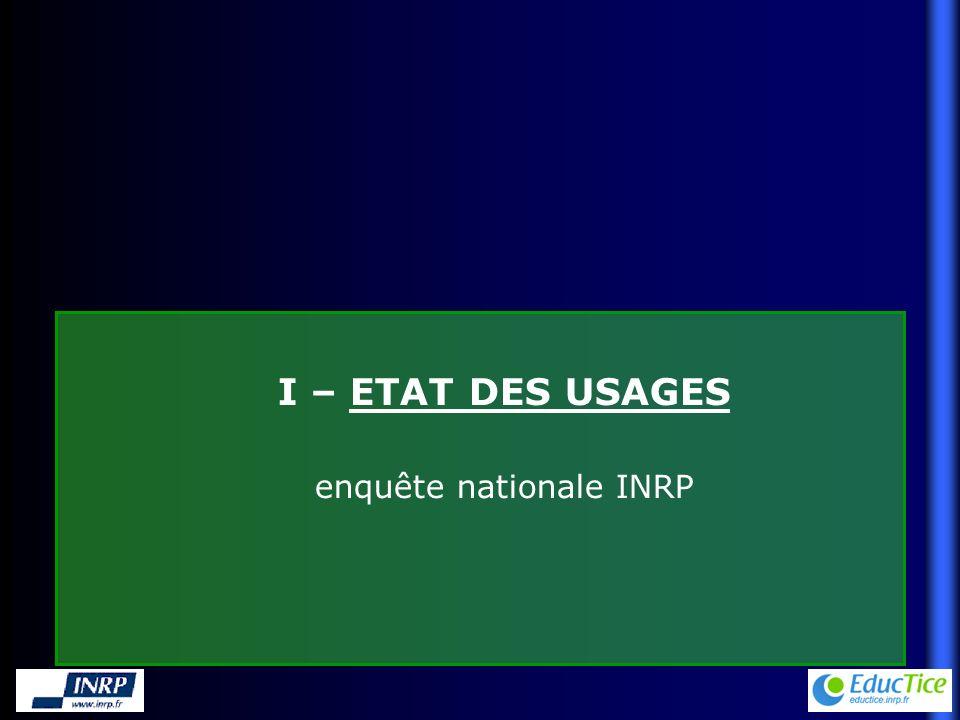I – ETAT DES USAGES enquête nationale INRP
