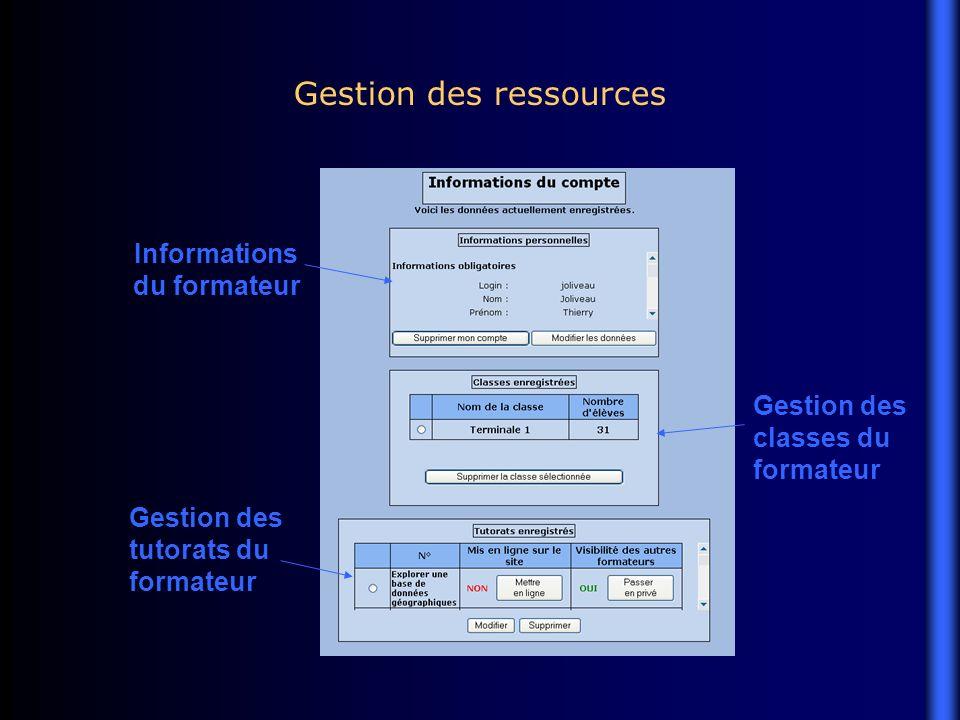 Gestion des ressources Informations du formateur Gestion des classes du formateur Gestion des tutorats du formateur