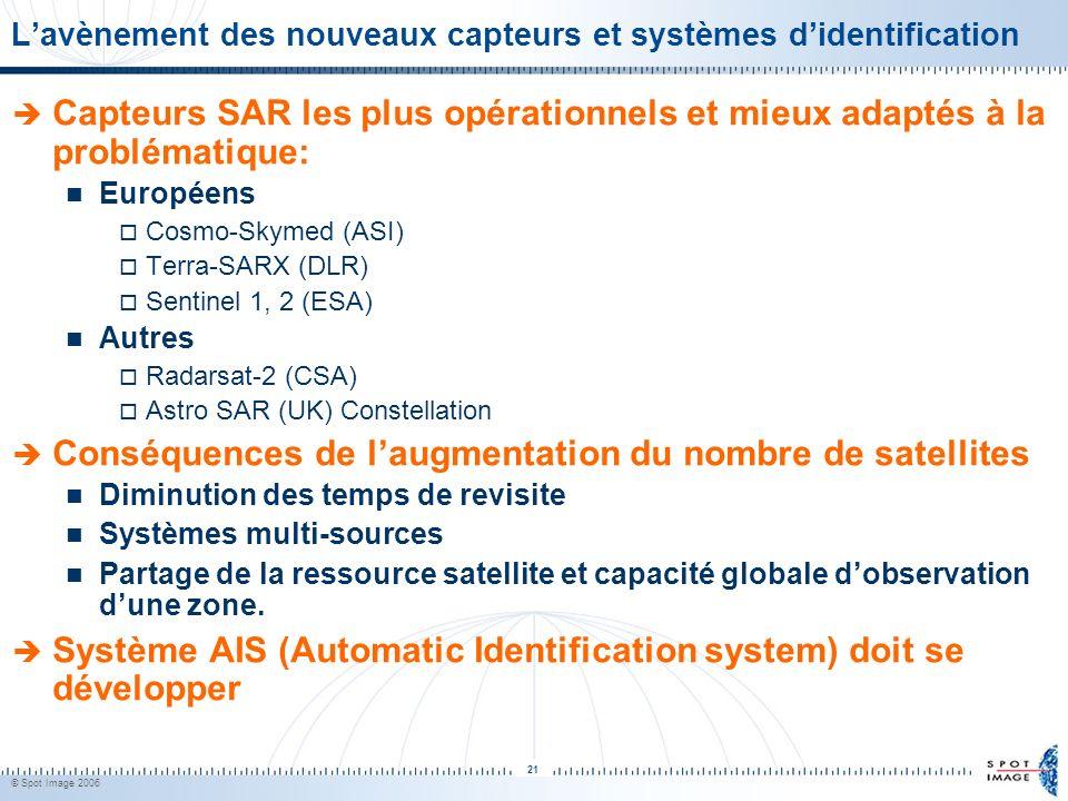 © Spot Image 2006 21 Lavènement des nouveaux capteurs et systèmes didentification Capteurs SAR les plus opérationnels et mieux adaptés à la problémati