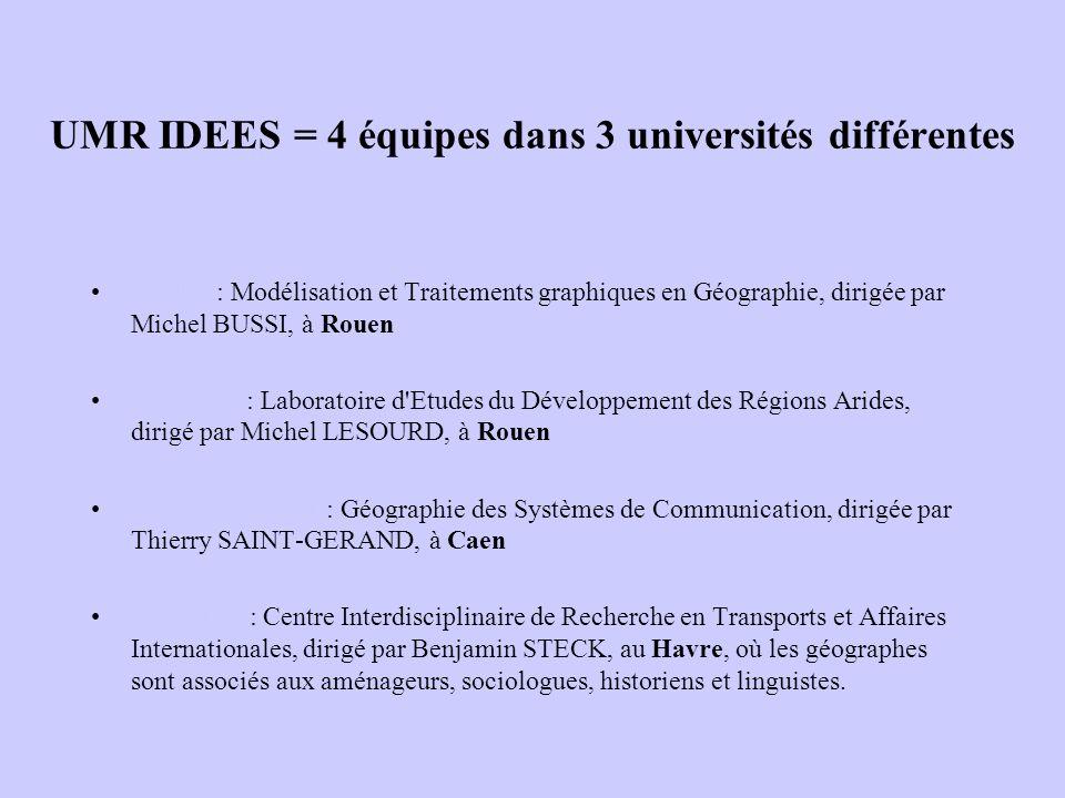 UMR IDEES = 4 équipes dans 3 universités différentes - MTG : Modélisation et Traitements graphiques en Géographie, dirigée par Michel BUSSI, à Rouen-