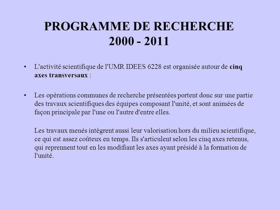 PROGRAMME DE RECHERCHE 2000 - 2011 L'activité scientifique de l'UMR IDEES 6228 est organisée autour de cinq axes transversaux : Les opérations commune