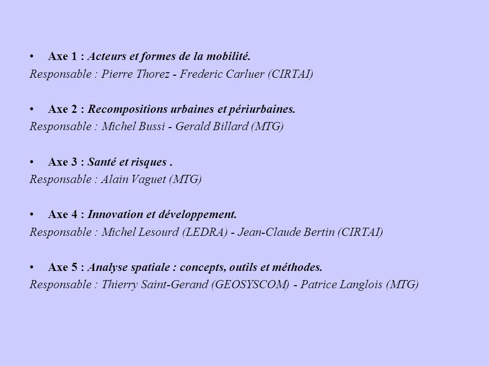 Axe 1 : Acteurs et formes de la mobilité. Responsable : Pierre Thorez - Frederic Carluer (CIRTAI) Axe 2 : Recompositions urbaines et périurbaines. Res