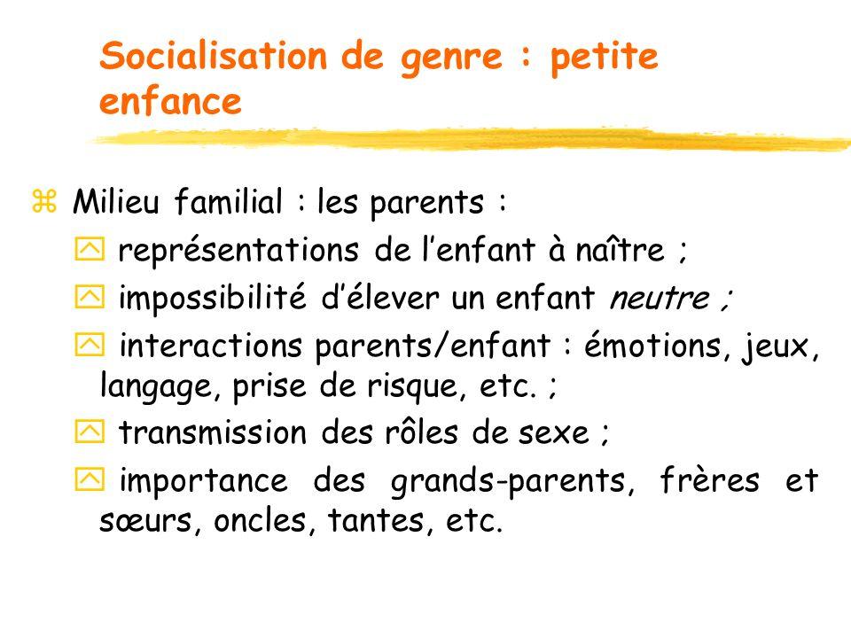 Socialisation de genre : petite enfance z Milieu familial : les parents : y représentations de lenfant à naître ; y impossibilité délever un enfant ne