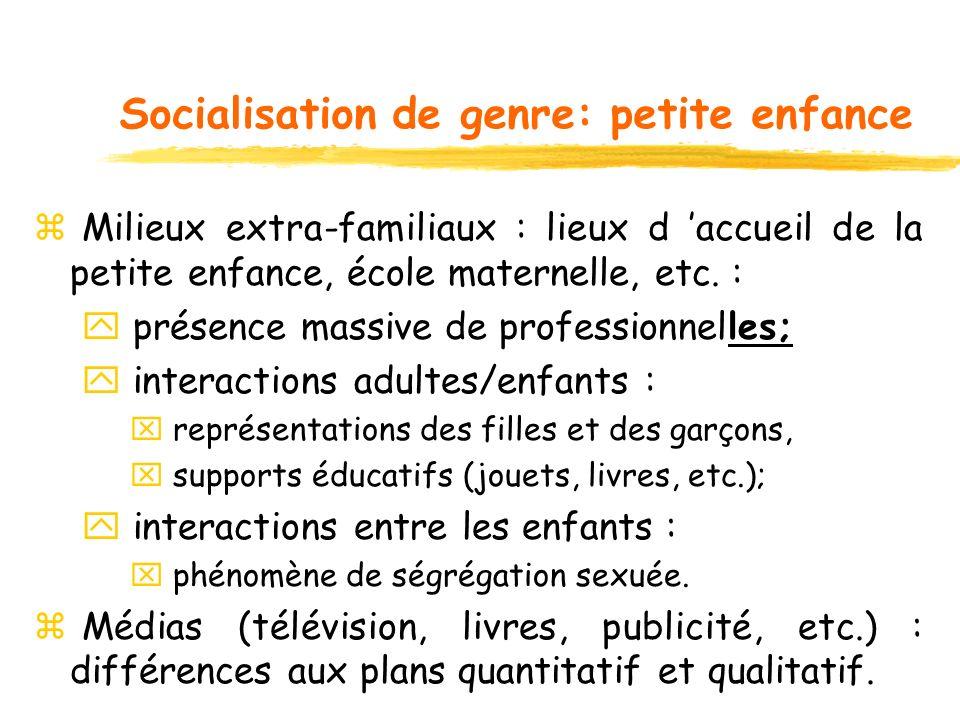 Socialisation de genre: petite enfance z Milieux extra-familiaux : lieux d accueil de la petite enfance, école maternelle, etc. : y présence massive d