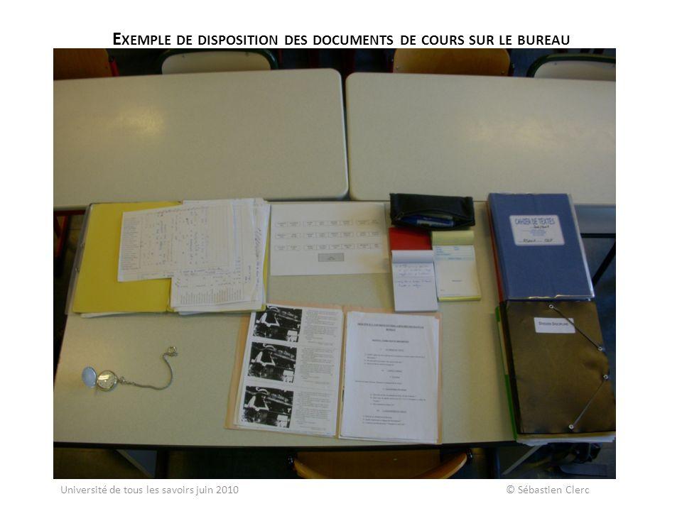 E XEMPLE DE DISPOSITION DES DOCUMENTS DE COURS SUR LE BUREAU Université de tous les savoirs juin 2010 © Sébastien Clerc