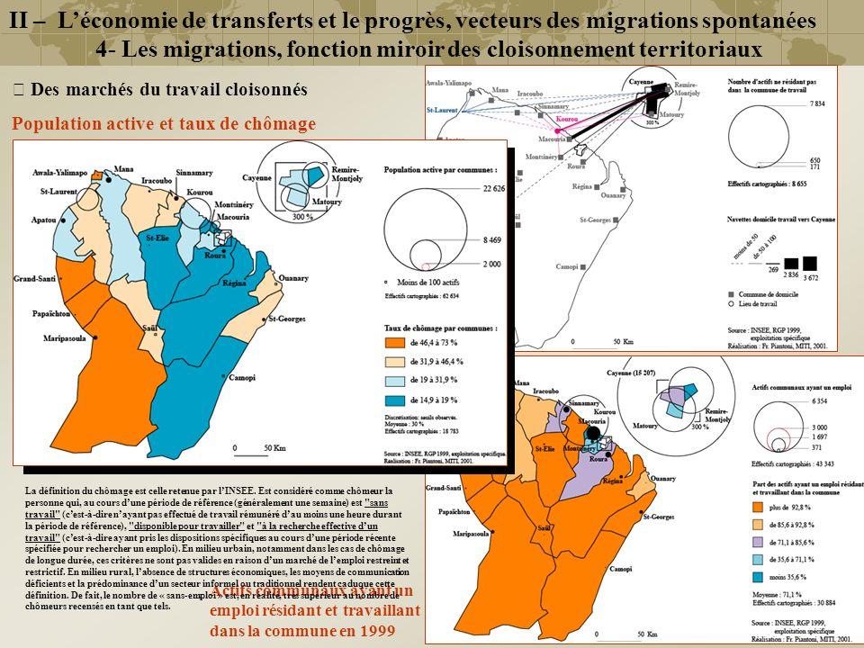 Actifs communaux ayant un emploi résidant et travaillant dans la commune en 1999 Navettes domicile-travail vers les pôles urbains (Cayenne, Kourou, St