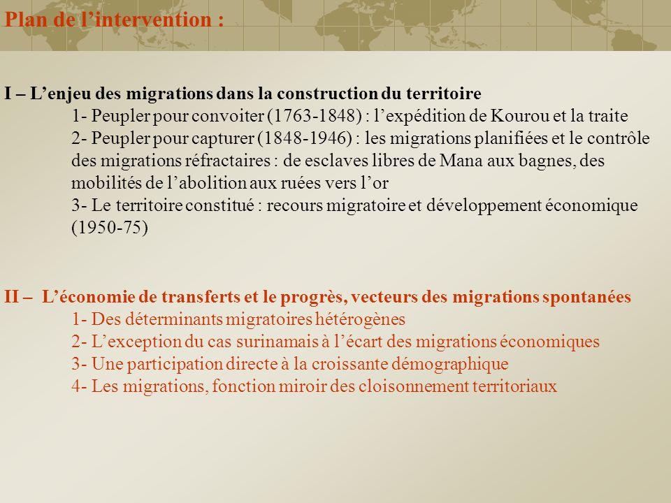 I – Lenjeu des migrations dans la construction du territoire 1- Peupler pour convoiter (1763-1848) : lexpédition de Kourou et la traite 2- Peupler pou
