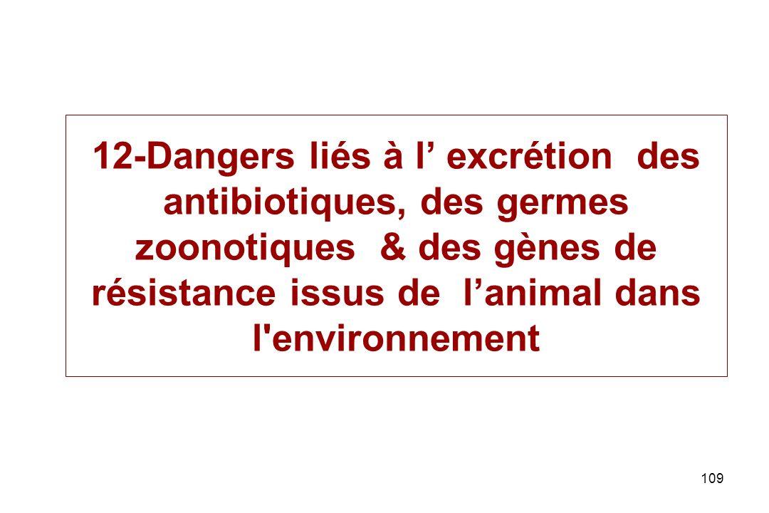 109 12-Dangers liés à l excrétion des antibiotiques, des germes zoonotiques & des gènes de résistance issus de lanimal dans l'environnement