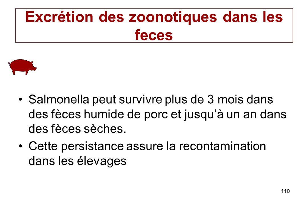 110 Excrétion des zoonotiques dans les feces Salmonella peut survivre plus de 3 mois dans des fèces humide de porc et jusquà un an dans des fèces sèch