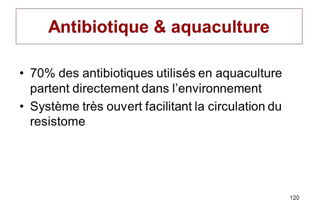 120 Antibiotique & aquaculture 70% des antibiotiques utilisés en aquaculture partent directement dans lenvironnement Système très ouvert facilitant la