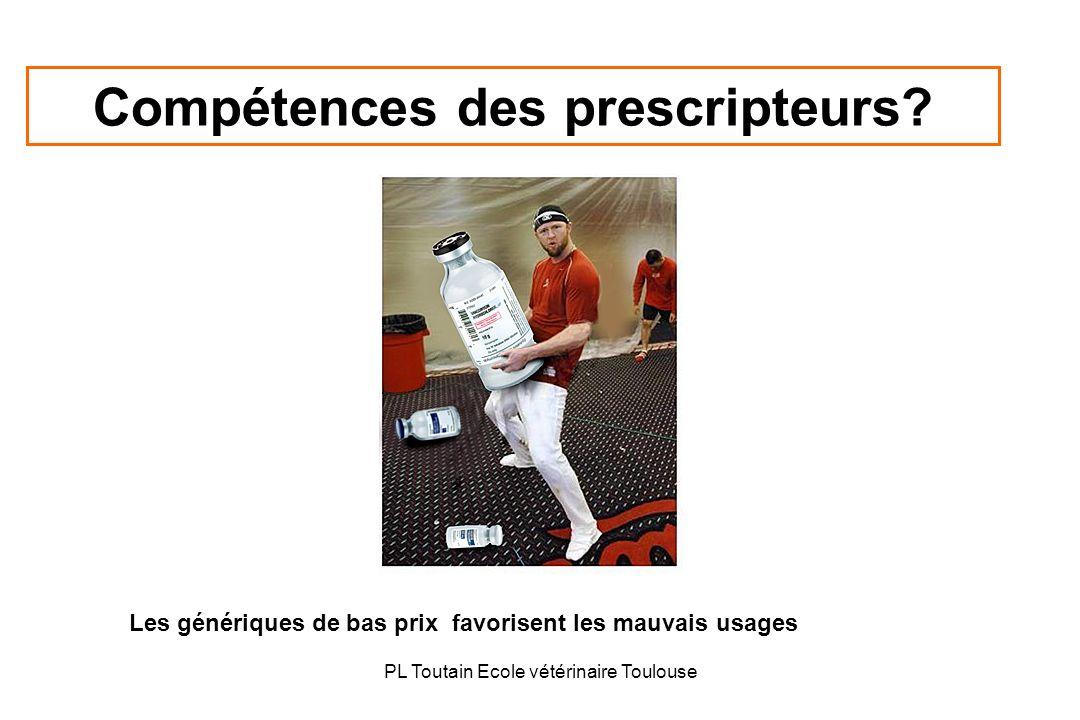 PL Toutain Ecole vétérinaire Toulouse Compétences des prescripteurs? Les génériques de bas prix favorisent les mauvais usages