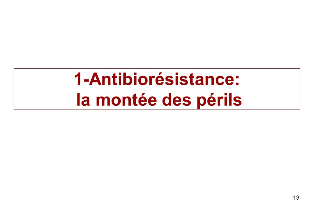 13 1-Antibiorésistance: la montée des périls