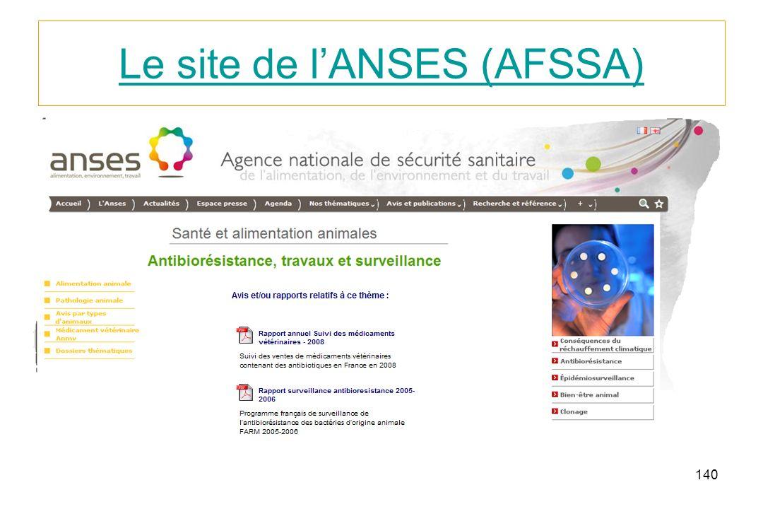 140 Le site de lANSES (AFSSA)