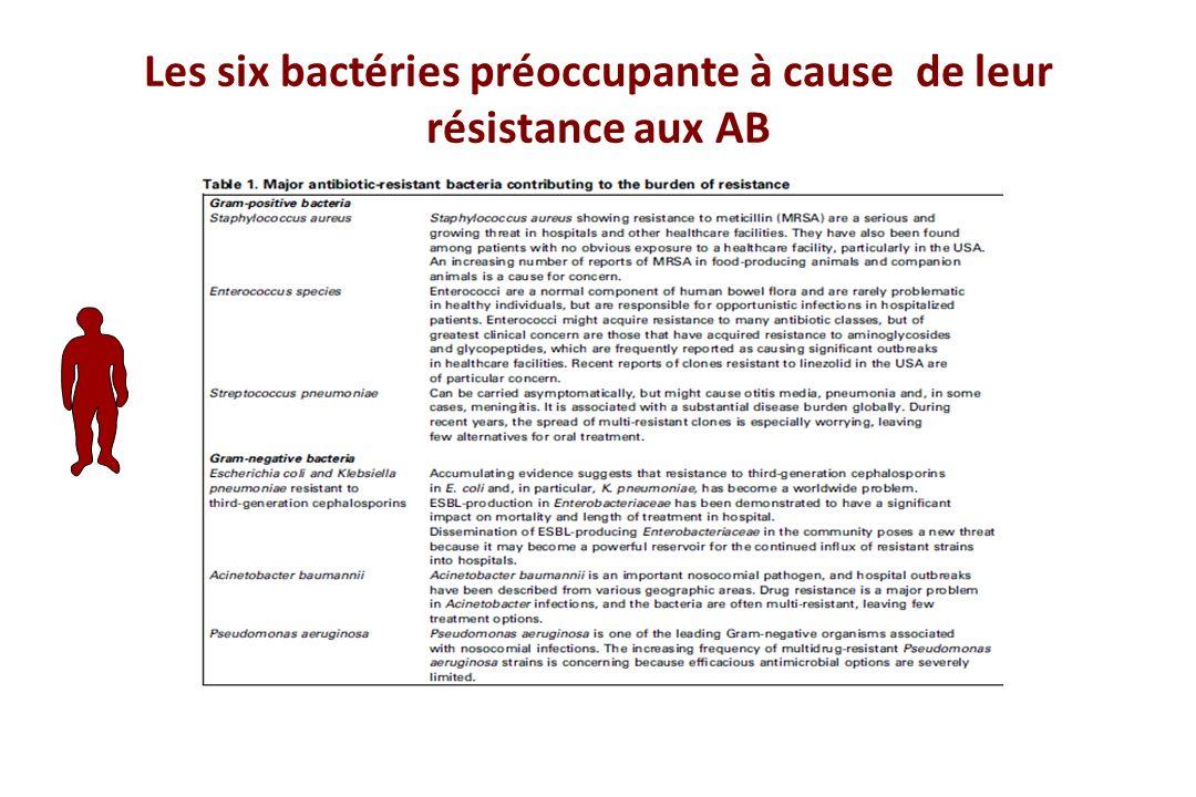 Les six bactéries préoccupante à cause de leur résistance aux AB