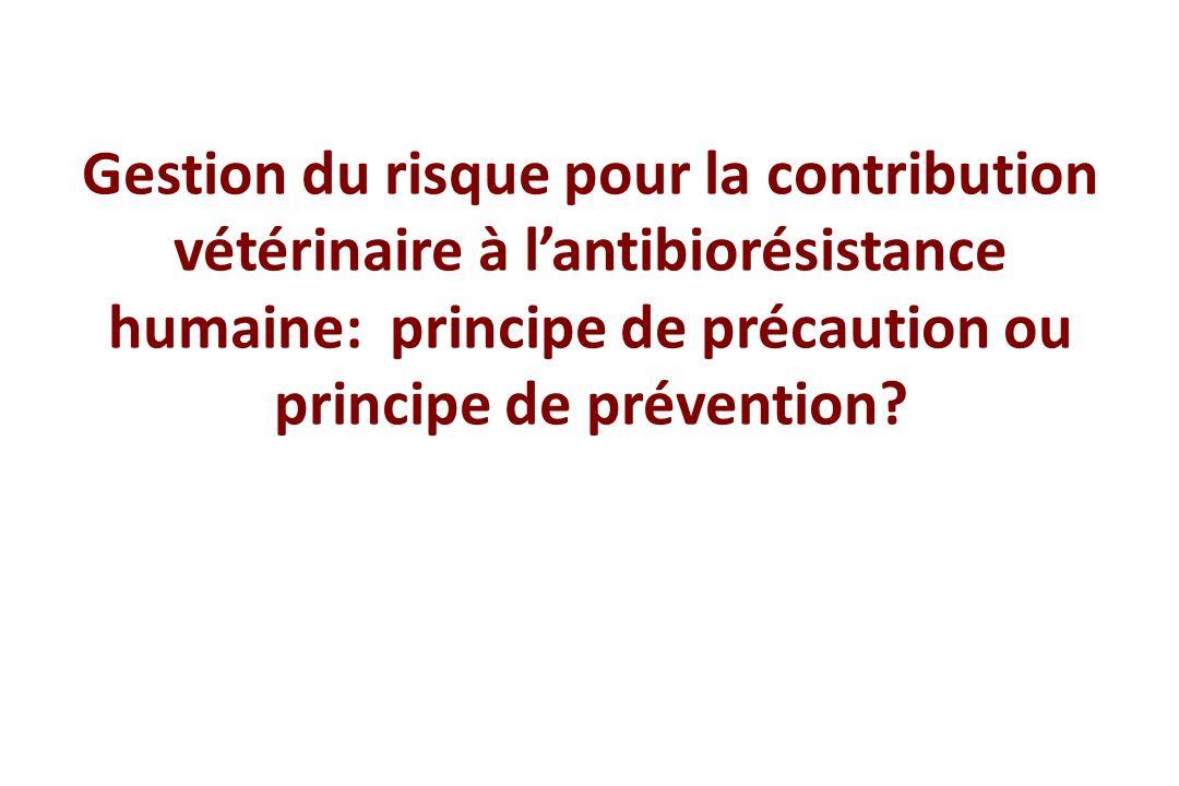 Gestion du risque pour la contribution vétérinaire à lantibiorésistance humaine: principe de précaution ou principe de prévention?