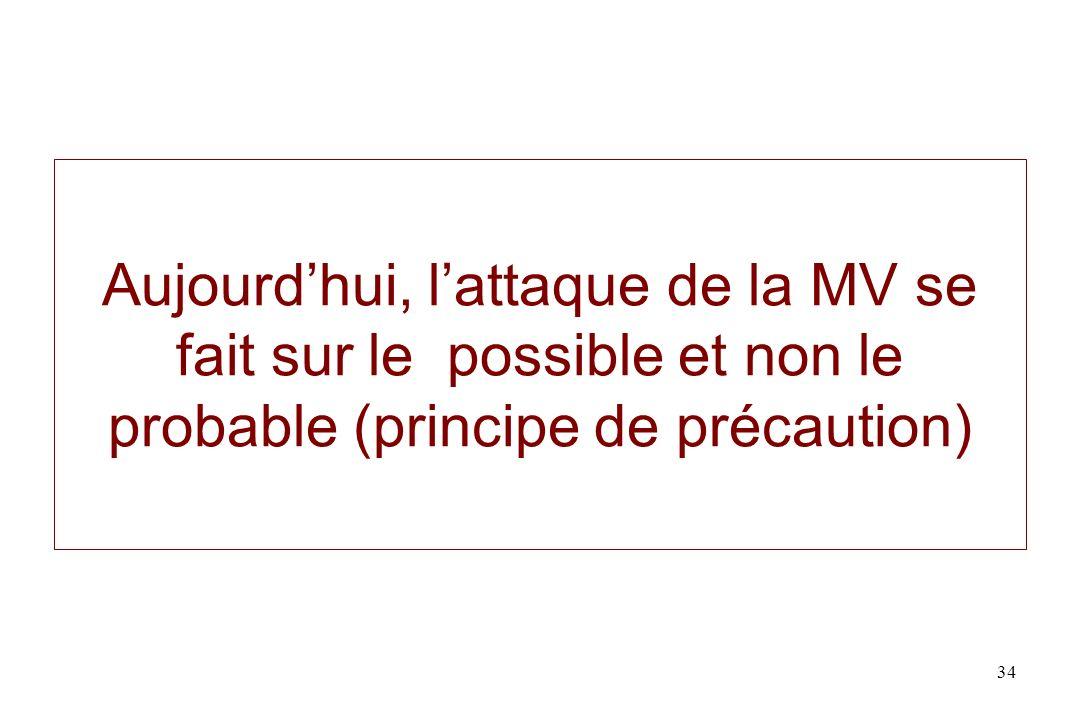 Aujourdhui, lattaque de la MV se fait sur le possible et non le probable (principe de précaution) 34