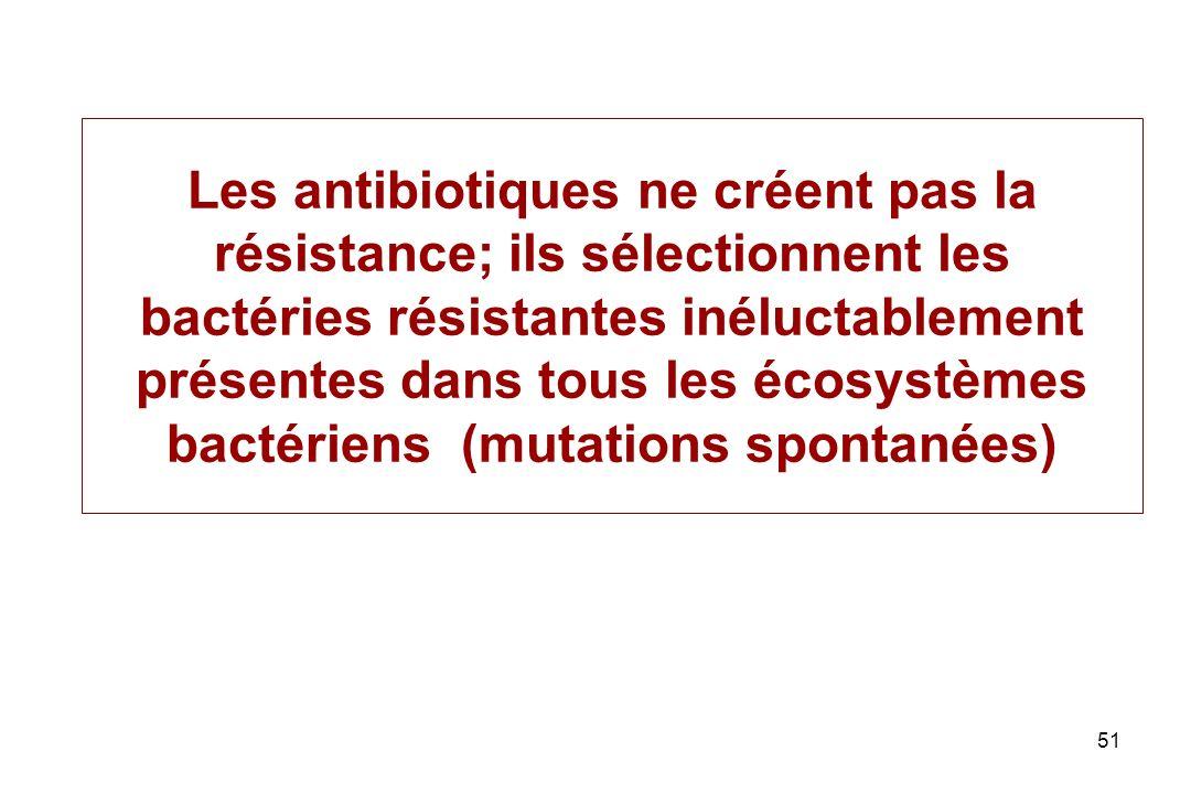 51 Les antibiotiques ne créent pas la résistance; ils sélectionnent les bactéries résistantes inéluctablement présentes dans tous les écosystèmes bact