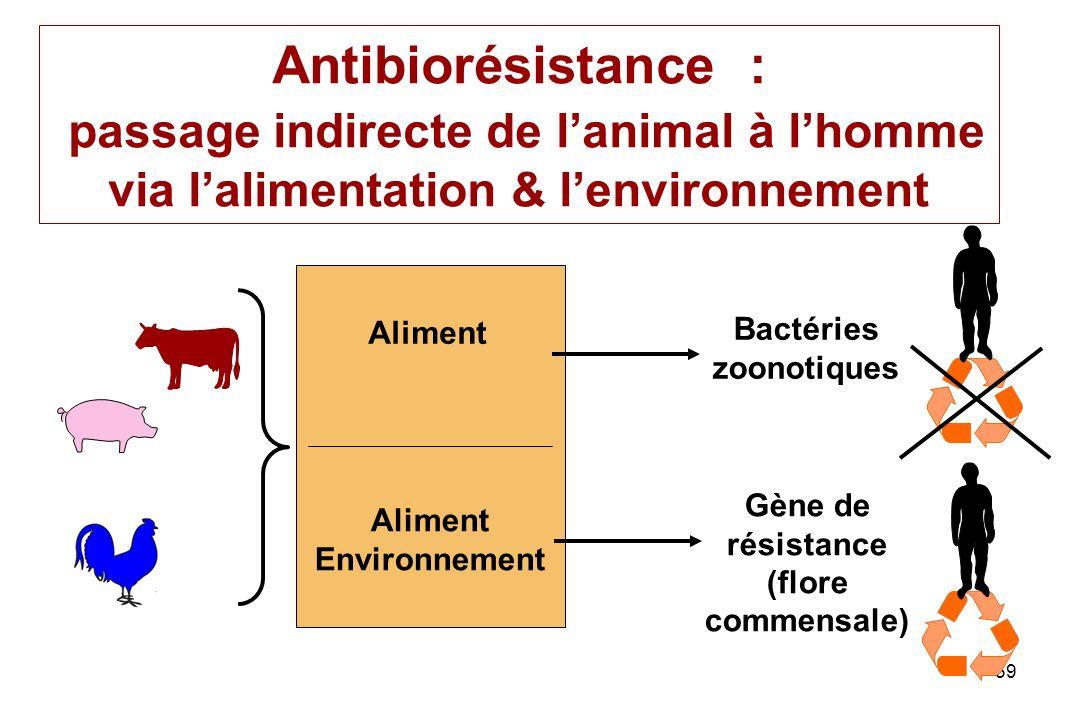 59 Antibiorésistance : passage indirecte de lanimal à lhomme via lalimentation & lenvironnement Aliment Environnement Bactéries zoonotiques Gène de ré