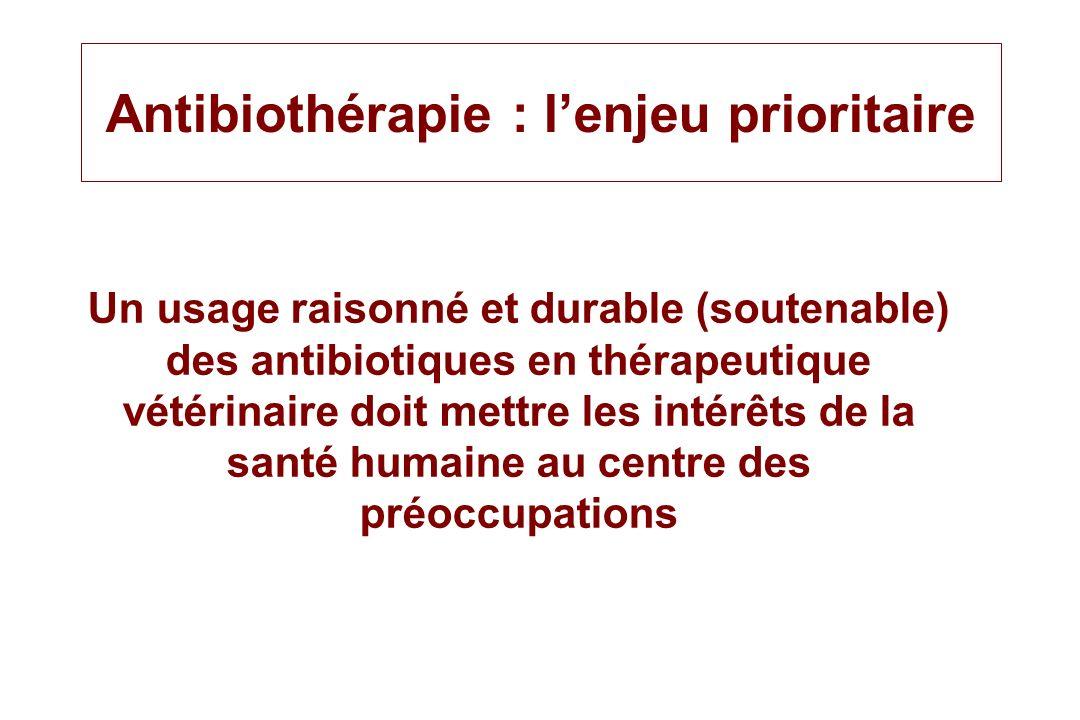 Antibiothérapie : lenjeu prioritaire Un usage raisonné et durable (soutenable) des antibiotiques en thérapeutique vétérinaire doit mettre les intérêts