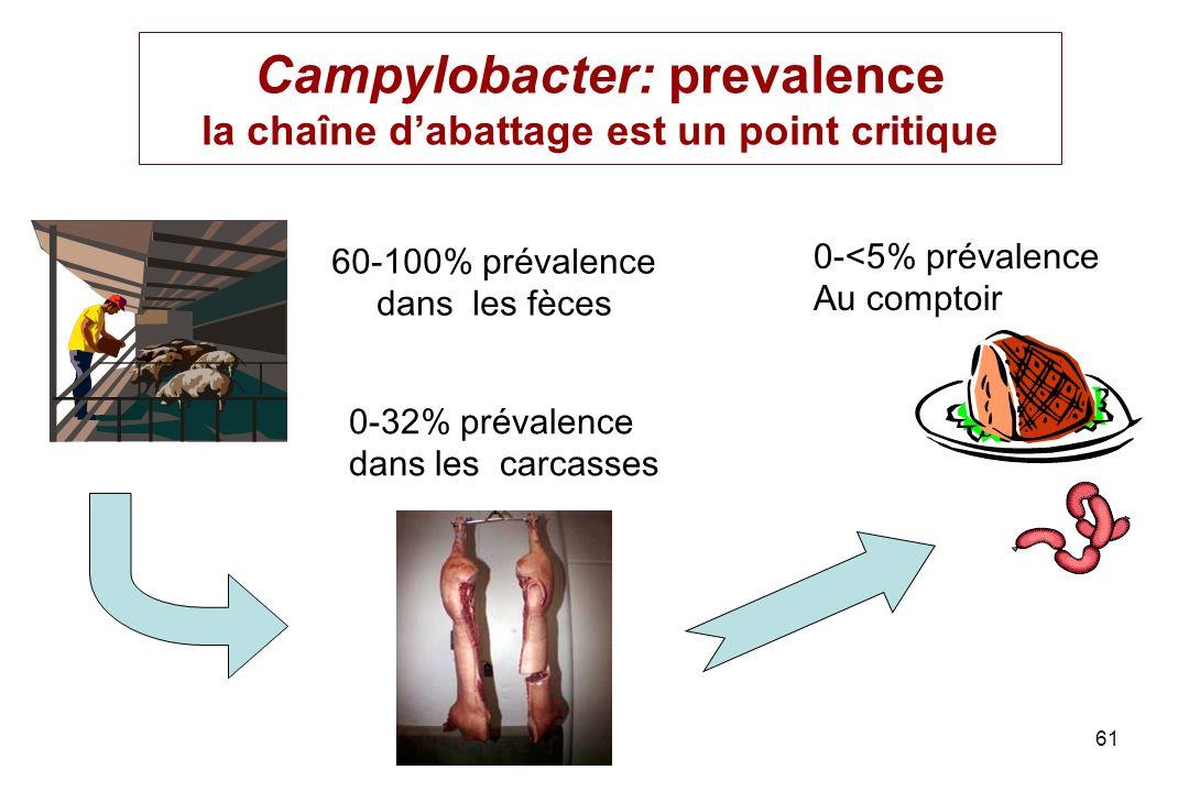 61 Campylobacter: prevalence la chaîne dabattage est un point critique 60-100% prévalence dans les fèces 0-32% prévalence dans les carcasses 0-<5% pré