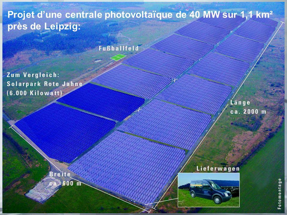 3 Projet dune centrale photovoltaïque de 40 MW sur 1,1 km² près de Leipzig: