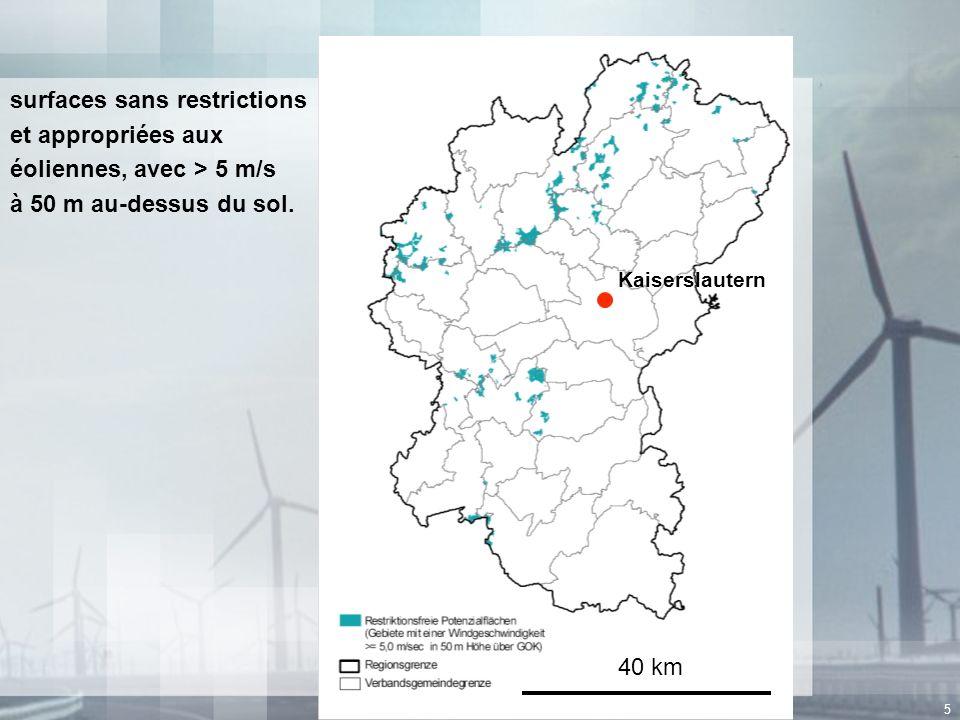 5 surfaces sans restrictions et appropriées aux éoliennes, avec > 5 m/s à 50 m au-dessus du sol. Kaiserslautern 40 km