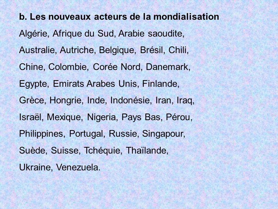 b. Les nouveaux acteurs de la mondialisation Algérie, Afrique du Sud, Arabie saoudite, Australie, Autriche, Belgique, Brésil, Chili, Chine, Colombie,