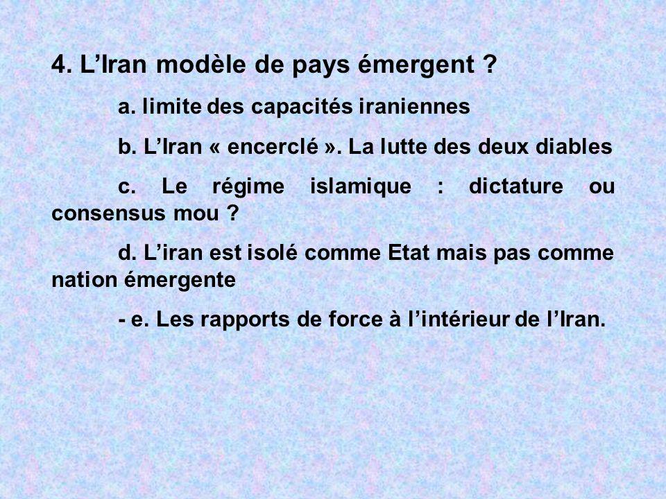 4. LIran modèle de pays émergent ? a. limite des capacités iraniennes b. LIran « encerclé ». La lutte des deux diables c. Le régime islamique : dictat