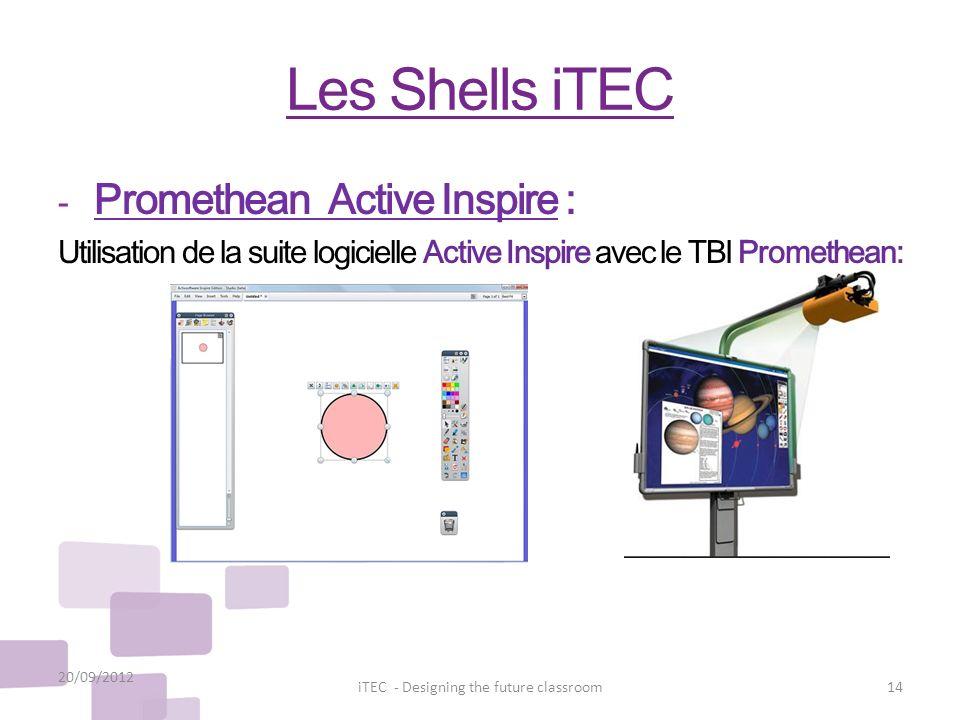 Les Shells iTEC - Promethean Active Inspire : Utilisation de la suite logicielle Active Inspire avec le TBI Promethean: 20/09/2012 14iTEC - Designing