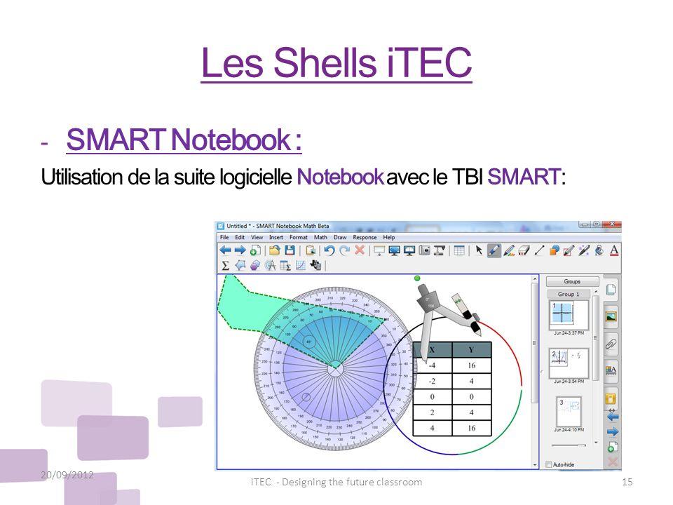 Les Shells iTEC - SMART Notebook : Utilisation de la suite logicielle Notebook avec le TBI SMART: 20/09/2012 15iTEC - Designing the future classroom