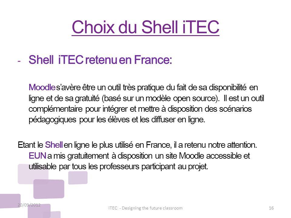 Choix du Shell iTEC - Shell iTEC retenu en France: Moodle savère être un outil très pratique du fait de sa disponibilité en ligne et de sa gratuité (b