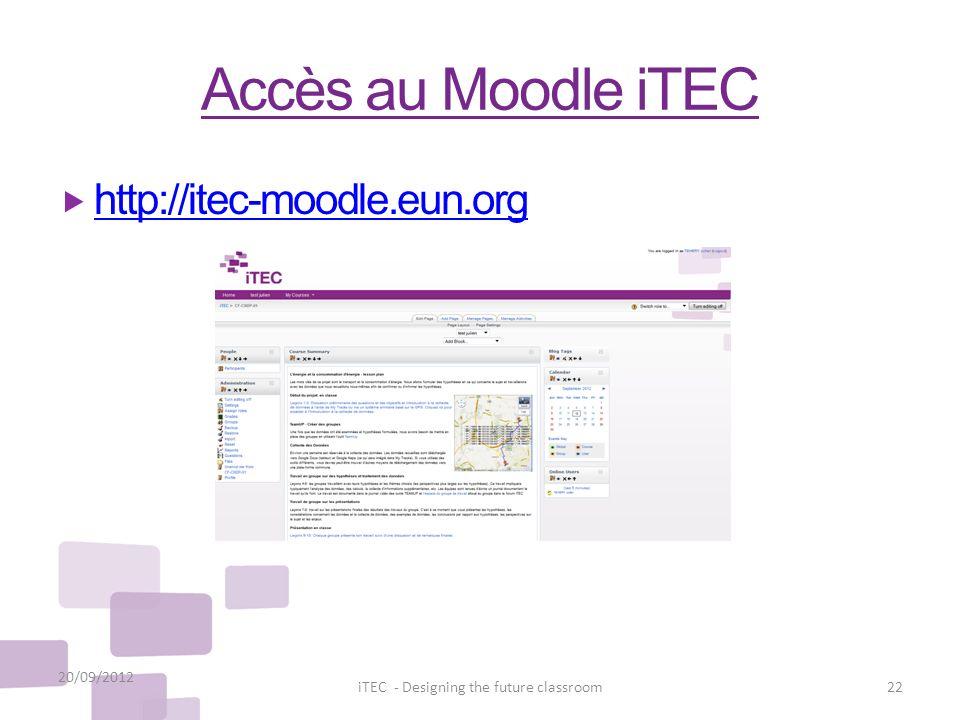 Accès au Moodle iTEC 20/09/2012 22iTEC - Designing the future classroom http://itec-moodle.eun.org