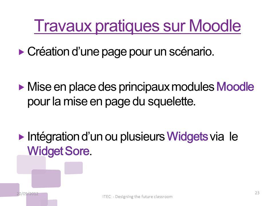Travaux pratiques sur Moodle 20/09/2012 23 iTEC - Designing the future classroom Création dune page pour un scénario. Mise en place des principaux mod