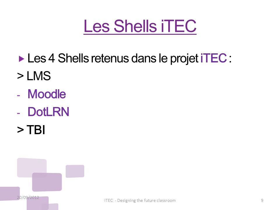 Les Shells iTEC Les 4 Shells retenus dans le projet iTEC : > LMS - Moodle - DotLRN > TBI 20/09/2012 9iTEC - Designing the future classroom