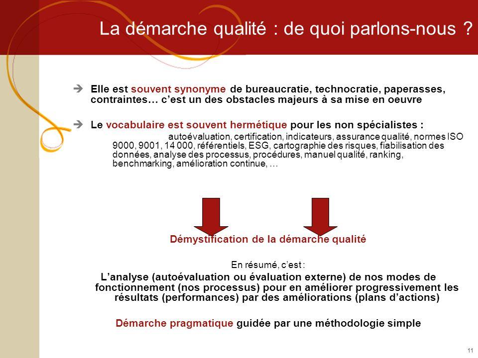 11 La démarche qualité : de quoi parlons-nous ? Elle est souvent synonyme de bureaucratie, technocratie, paperasses, contraintes… cest un des obstacle