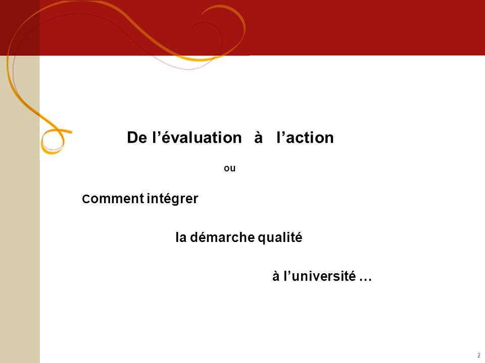 Les formes et domaines de lévaluation Evaluation externe : intervention dune agence dévaluation externe (à distinguer de la DGES) -AERES – CTI (Agence dEvaluation de la Recherche et de lEnseignement Supérieur – Commission des Titres dIngénieur) -IGAENR (Inspection Générale de lAdministration de lEducation Nationale et de la Recherche) -Organismes de certification (type AFNOR, si procédure de certification) http://www.aeres-evaluation.fr/ Evaluation interne : autoévaluation chaque établissement construit son propre dispositif dévaluation : indicateurs, tableaux de bord, audit, analyse de processus… Lévaluation sexerce - par rapport à des normes ou des référentiels définis de manière externe (normes ISO, standards européens de lENQA, Qualicert pour les IAE, …) ou - par référence à des objectifs fixés par létablissement (politique détablissement, CQD) Les domaines concernés : la formation, la recherche, le pilotage (Gouvernance – système organisationnel, RH, Finance, Immobilier, SI, SCD, …)