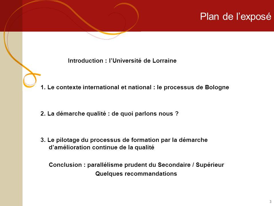 33 Plan de lexposé Introduction : lUniversité de Lorraine 1. Le contexte international et national : le processus de Bologne 2. La démarche qualité :
